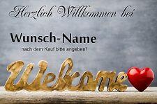 Willkommen Fußmatte mit Wunschname - Home - Welcome - Hallo -Herzlich Willkommen