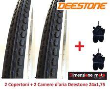 """2 copertoni Deestone Bianco/nero 24x1 75 Strad 2 camere per bici 24"""" Cruiser"""