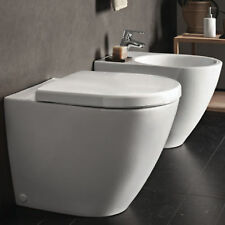 Sanitari filo parete Pozzi Ginori vaso Rimfree con copri water softclose e bidet