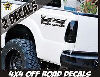 4x4 Truck Bed Decals, Deer Hunter, Gloss Black Set for Ford Super Duty F-250 etc