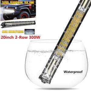 20inch Ultra Slim LED Light Bar 2-Row Spot Flood Combo offroad Driving Fog Lamp