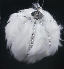 Winter White Fur & Silver Gem Ball  Wedding Decorations / Christmas Ornaments