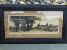 Antique Old 1890  Ernest Rost Landscape  Connecticut  Farm  45 1/2 x 25 1/2 frm.