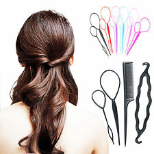 4pcs Plastic Magic Topsy Tail Hair Braid Ponytail Styling Bun Maker Clip Tools