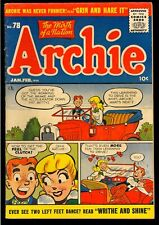 Archie Comics #78 Nice Classic Cover Golden Age Teen Comic 1956 VG-FN