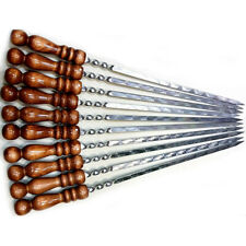 10pcs Barbecu Skewers for chargrill with wooden handle of Beech stainless steel