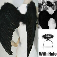 Black Feather Angel Wings With Halo Fancy Dress Costume Fairy Adults Halloween