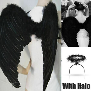 White Angel Wings and Halo for Kids Angel Costume Adult Feather Wingsare Used for Important Festivals as Halloween Christmas Eve and Christmas