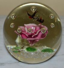 Vintage Pink Lotus Flower Flying Birds Frogs Nature Large Paperweight