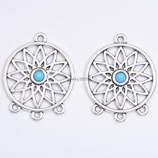 3/10 Pcs Tibetan Silver Flower Dreamcatcher Charm Connector PendantS DH194