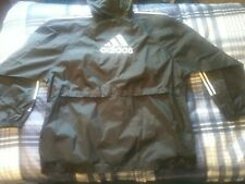 Vintage Adidas Full Zip Windbreaker Jacket With Hood Size XXL Black Super Nice