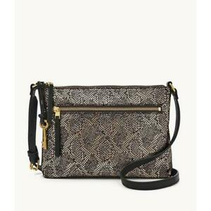 Fossil Fiona East West Black Silver Snake Small Crossbody Suede Metallic New