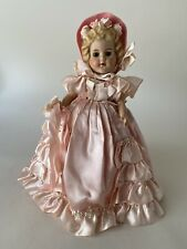 Vtg Hard Plastic 12� Bridesmaid Doll Pink Gown Sleep Eyes, Neck Arms Legs Move