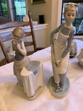 Lladro Girl With Iron And Nao Lladro Maid With Vacuum - Lot Of 2