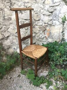 Antique French Wood Walnut Prayer Chair Rush Seat Kneeling Sitting Church 1 Of 3