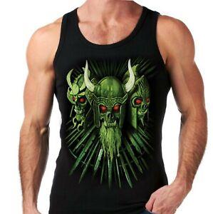 Velocitee Mens Vest Fierce Evil Viking Skulls Goth Gothic A22292