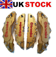 BIG GOLD Brake Caliper Covers Kit 3D logo Front Rear 4pcs ABS Large + Medium