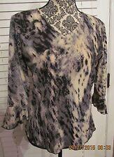 j. t. b. Women Animal Print Sequins 3/4 Sleeve V-Neck Multi-Color Blouse  M