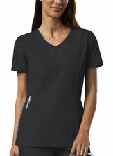 NWT 2XLarge Black Cherokee Scrubs Workwear V Neck Embroidered Top 4724 BLKW