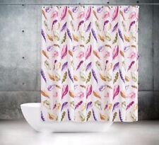 Rideau de Douche en Tissu Plumes Blanc Multicolore 240x200 cm 240 Large X 200