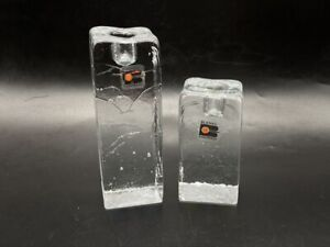 """Set of 2 Blenko Ice Cube MCM Candle Holders Original Tags 4"""" 6"""" Clear 2"""" Square"""