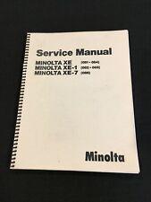 OEM Minolta Service Manual for SLR Camera Models XE, 1 & 7 (081, 84, 82, 85, 86)