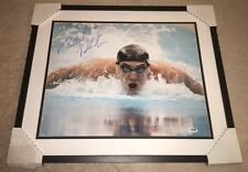 MICHAEL PHELPS SIGNED 16X20 ACTION OLYMPIC SWIMMING GOLD MEDAL PSA/DNA FRAMED