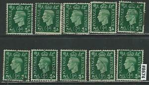 #8674 GREAT BRITAIN UK Sc#235 Used King George VI, 1937-8 Lot of 10