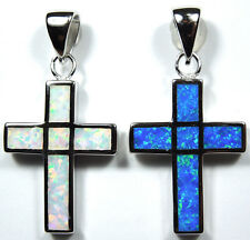 Reversible Blue & White Fire Opal Inlay 925 Sterling Silver Cross Pendant