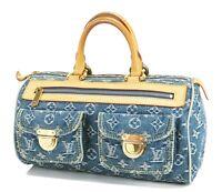 Authentic LOUIS VUITTON Neo Speedy Blue Monogram Denim Hand Bag Purse #32631