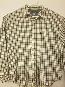 Tommy Jeans Mens XL Black White Checkered Button Down Long Sleeve Shirt