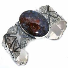 Stick Agate Gemstone Vintage 925 Sterling Silver Cuff Bracelet Adjustable
