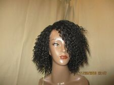 Janet Collection Deep Part synthetic futura curly off black lace Frontwig 1B