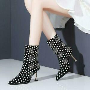 2021 Women's Pointy Toe Kitten High Heels Zip Party Shoes Faux Suede Ankle Boots