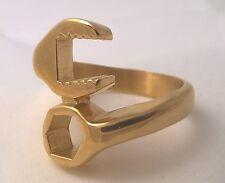 G-Filled Mens 18ct gold LARGE mechanic's ring bikie spanner wrench biker size 11