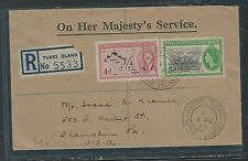TURKS AND CAICOS (P0912B) KGVI D MAP+ QEII 5D BOAD REG 1955 COVER TO USA