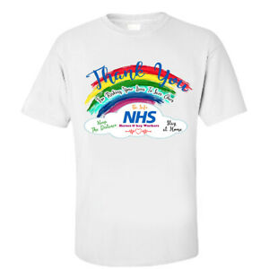 New T,Shirt Thank You NHS End Key Workers Nurse Doctor Rainbow Corona Stay Safe