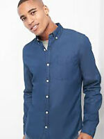 Gap Men's Dark Indigo twill slim fit shirt size XL NWT RRP$80