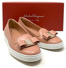 Authentic Salvatore Ferragamo VARA Ribbon Flat Shoes Pink Size 6D US 6 Rank AB