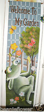 """Canvas WELCOME TO MY GARDEN Hanging w/ FROG, butterflies & Flowers 58"""" High"""
