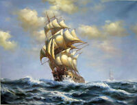 Dream-art Oil painting seascape big sail boats on ocean hand painted canvas art