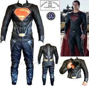 SUPERMAN STYLE CHANGEABLE LOGO MENS MOTORBIKE / MOTORCYCLE LEATHER JACKET & SUIT