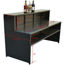 Wicker Pool Bar Buffet Counter Serving Table Plates Glass Wine Bottle Towels