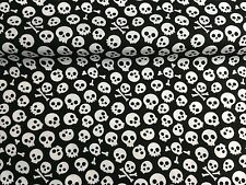 Cheap NEW Polycotton Fabric Crafts BLACK SMALL SKULL PIRATE Per Metre Material