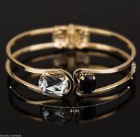 Womens Lady Gold Plated Crystal Bracelet Bangle Wristband Open Wide Cuff Jewelry
