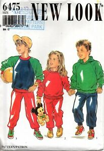 New Look for Kids Sewing Pattern 6475 Children's Top Pants Size 3-12