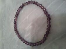 Bracelet en perles d'améthyste  de 4 mm, 1 rang, diamètre 55 mm, élastique...