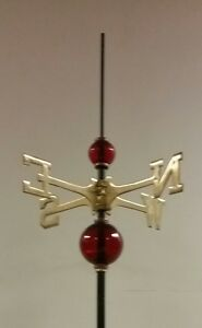 Weathervane set-up/ 2.5'' & 4.5'' RED GLASS balls/ANT GREEN DIRECTIONS-40''rod-