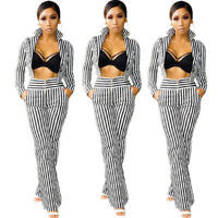 ❤Women Stand Collar Long Sleeve Stripes Casual Long Pants Outfits Jumpsuit 2pc❤