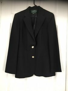 Lauren Ralph Lauren Size 10 Black100% Wool /Laine Single Breasted Jacket